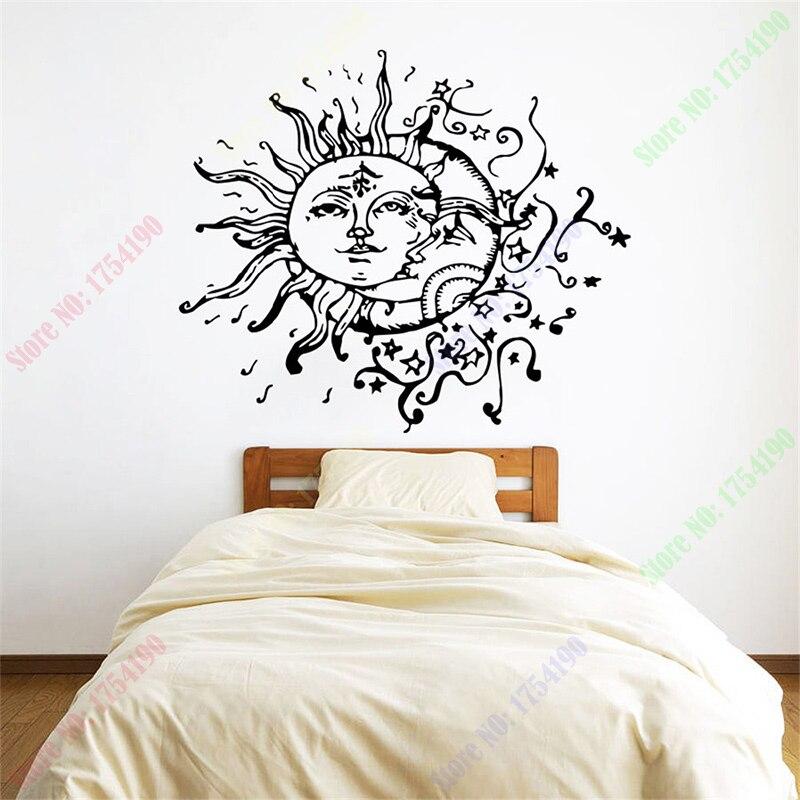 Sun Moon Crescent Dual Ethnic Stars Night Symbol Sunshine Fashion Room Vinyl Carving Wall Decal Sticker for Home Window Decor