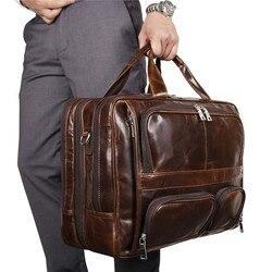 Мужской портфель Nesitu, винтажный большой портфель из натуральной кожи кофейного и черного цвета для ноутбука 15,6 ''17'', сумка-мессенджер M7289