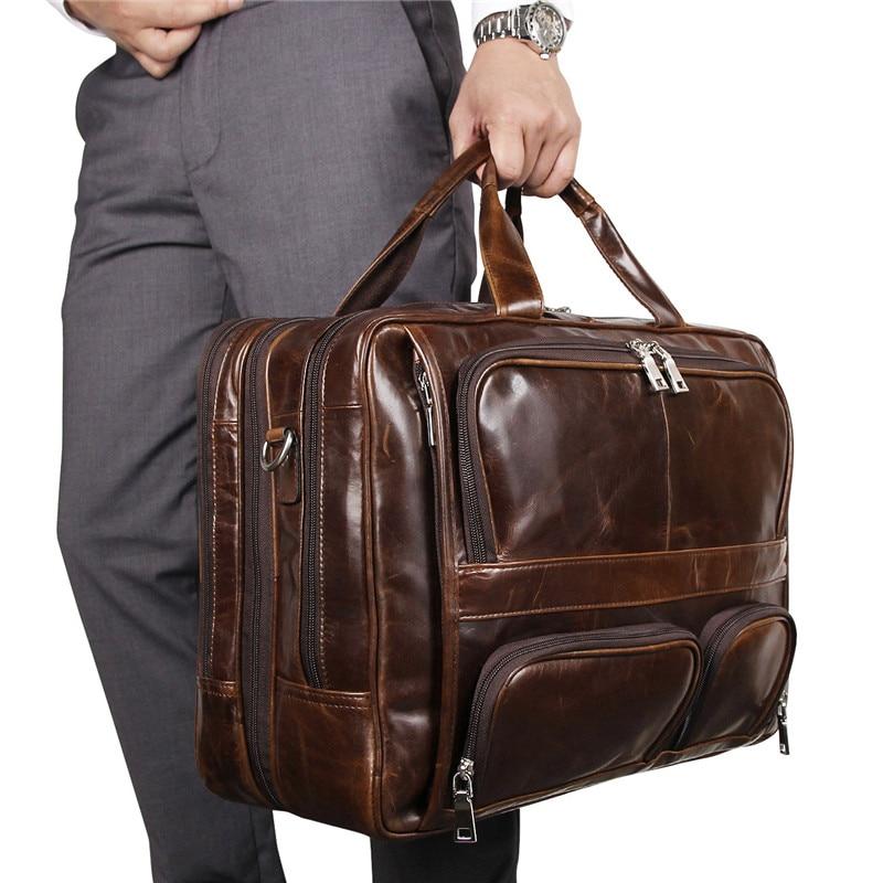 Nesitu Vintage Big Large Coffee Black Genuine Leather Office 15.6'' 17'' Laptop Men Briefcase Messenger Bags Portfolio M7289