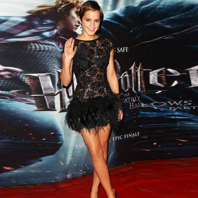Vestido de Festa Stunning Sexy Mini Short Black Emma Watson Celebrity Dresses with Cap Sleeve Lace and Feather Prom Party Dress