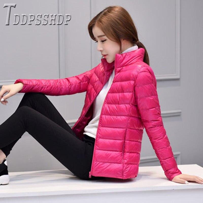 Winter Slim Short Women   Parkas   Stand Collar Long Sleeve Female Coat Jacket