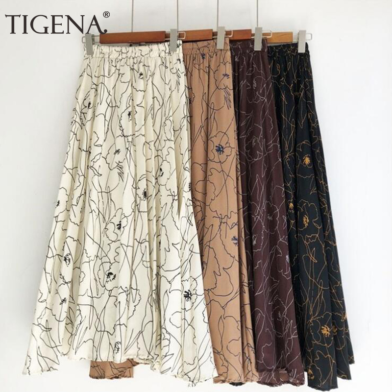 TIGENA 90cm Bohemian Long Maxi Skirt Women 2019 Summer Korean Fashion Print Chiffon Skirt Female Boho Sun High Waist Skirt