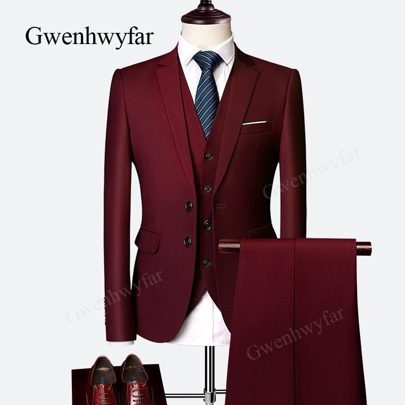 Gwenhwyfar 2018 أنيقة العلامة التجارية صالح سليم النبيذ الأحمر دعوى الرجال زي 3 أجزاء أوم حفلة موسيقية سهرة العريس الدعاوى للرجال الزفاف حزب-في بدلة من ملابس الرجال على  مجموعة 1