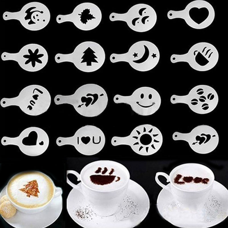 16pcs Sixteen Kinds Pattern Garland Mould, Fancy Coffee Foam Spray Printing Model Template, Home Furnishing Coffee Shop Tools