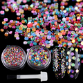2 Boxes 3g Colorful Nail Sequins Glitter Paillette with Brush Manicure Nail Art Decoration Set