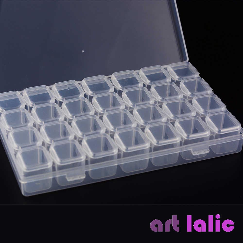 28 Grid Slot Empty Storage Box Clear Nail Rhinestones Storage Case Manicure Tool