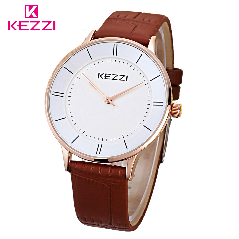 KEZZI Brand 1271 New Fashion Leather Watches For Men And Women Couple Import Quartz Movement Watch One Of Wife Loves Decoration new arrival kezzi brand leather strap ladies watch fashion analog japan movement waterproof quartz watch wrist watches for men