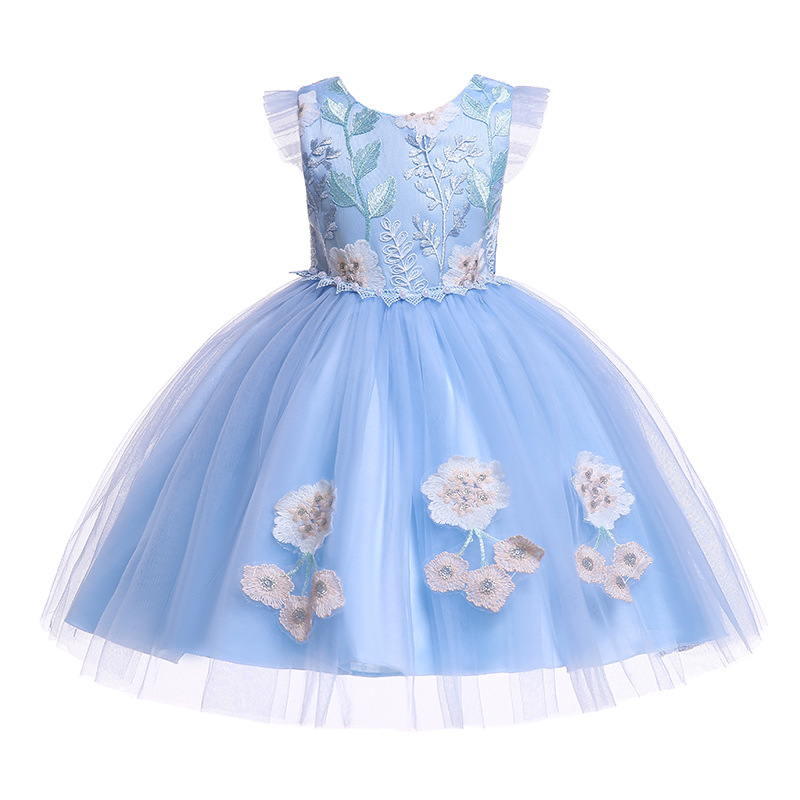 Summer party dress for Girls Vestidos embroidery Princess Wedding Flower Girls dresses for Baby Girls clothesSummer party dress for Girls Vestidos embroidery Princess Wedding Flower Girls dresses for Baby Girls clothes