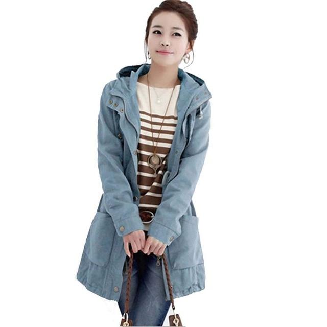 Novo Estilo Coreano Luva Longa Das Mulheres Lapela Outono Com Capuz Casaco Para Mulheres Outwear Fina 2017 Magro Blusão Casuais 2XL
