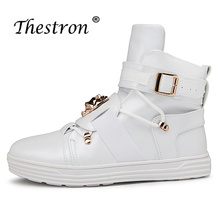Купить с кэшбэком New Arrival Martens Boots Men White Red Men Shoes High Top Skate Shoes High Quality Non Slip Waterproof Rubber Sole Flat shoes