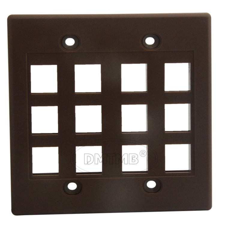 12 ports keystone wall plate with 120 X 120mm and brown color