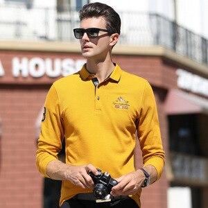 عالية الجودة قمم و المحملات بلون الرجال بولو 3D التطريز الأعمال عارضة قمصان بولو الشتاء الرجال طويلة الأكمام قميص بولو العلامة التجارية