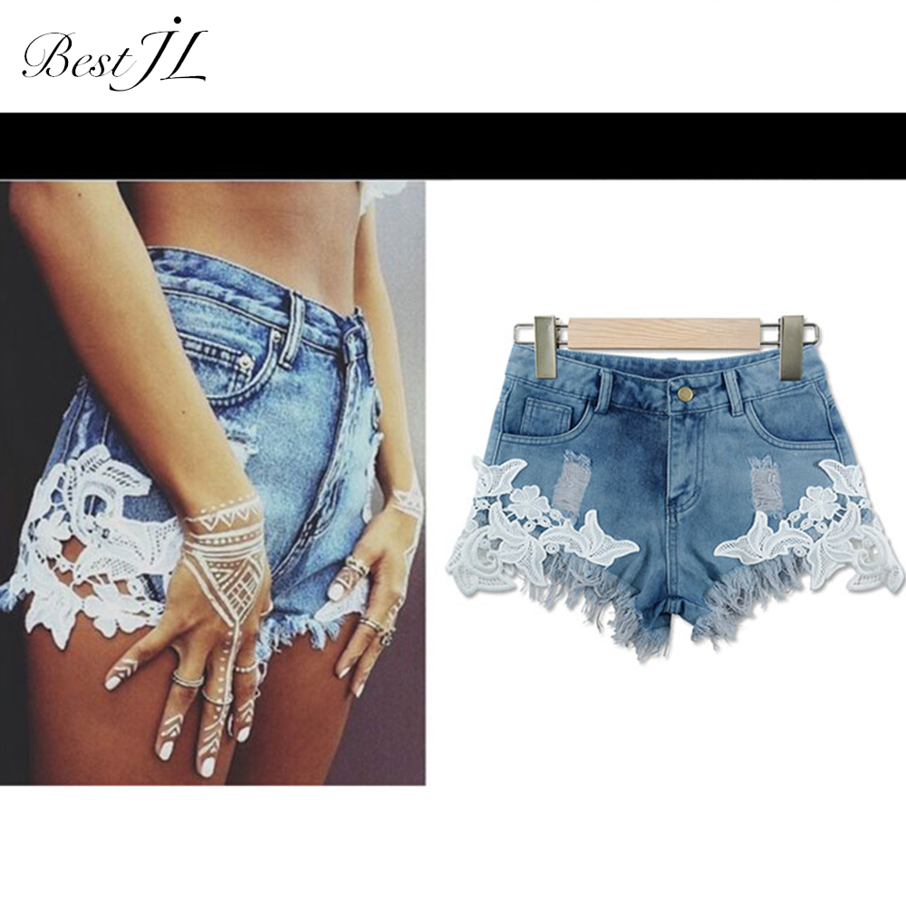 Donne del merletto di Cucitura Pantaloncini di Jeans Plus