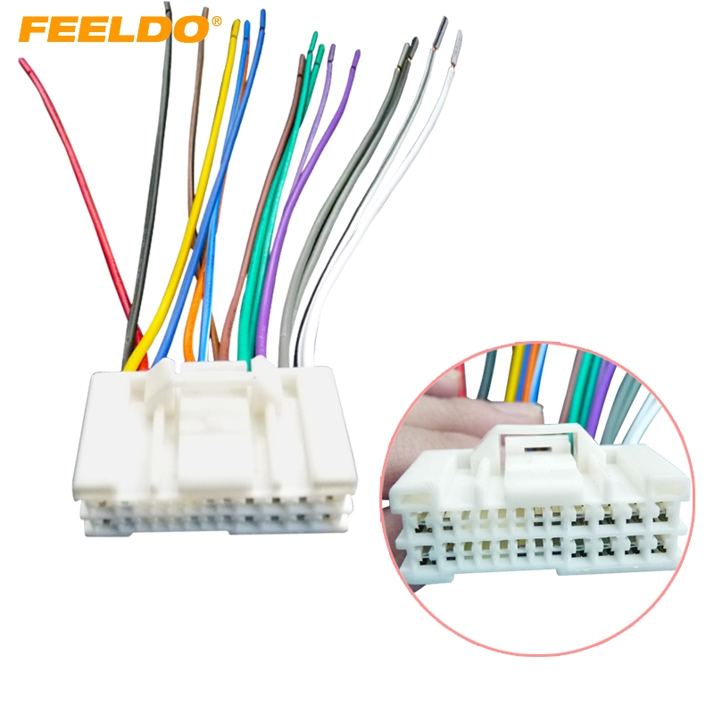 Feeldo 1pc Car Audio Stereo Wiring Harness Adapter Plug