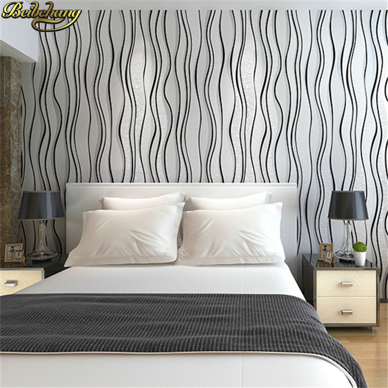 beibehang Simple Flocking Striped Mural Wallpaper Roll Modern Design Living Room 3D curve wall paper roll bedroom Ceiling Decor beibehang wallpaper bedroom living room tv background mural wallpaper flocking stereoscopic 3d relief wallpapers roll wall paper