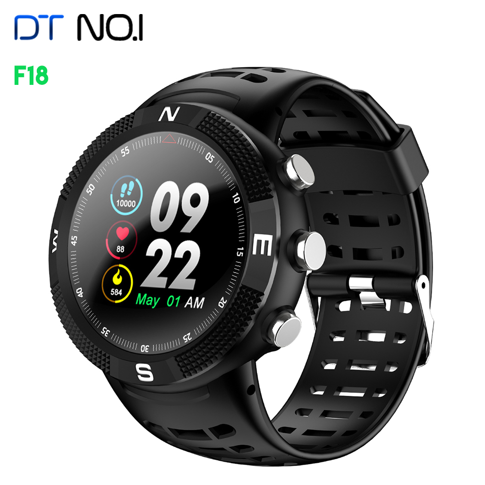 DTNO.1 <font><b>F18</b></font> Smart Watch Bluetooth Sports Smartwatch IP68 Waterproof GSS Pedometer Heart rate monitor for Jogging image