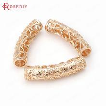 (31862)6 pçs 25x5.5mm dentro de 4mm 24k champagne ouro cor bronze pulseiras gravado lótus tubo curvado jóias descobertas acessórios