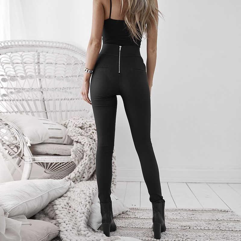 Preto Mulheres Sexy Leggings de Couro Falso Magro Stretchy Voltar Zipper Calças de Cintura Alta Bodycon PU Calças Femininas Leggings Senhoras