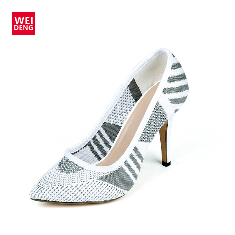 WeiDeng Sexy Women Stilettos High Heel Pumps Shoes Fashion Mesh  Breathable Ladies Pointed Toe Dress Wedding Shoes Casual Office new arrival women sky blue high heel slip on sexy stilettos white cloud decoration cute bride shoes wedding women stilettos pump