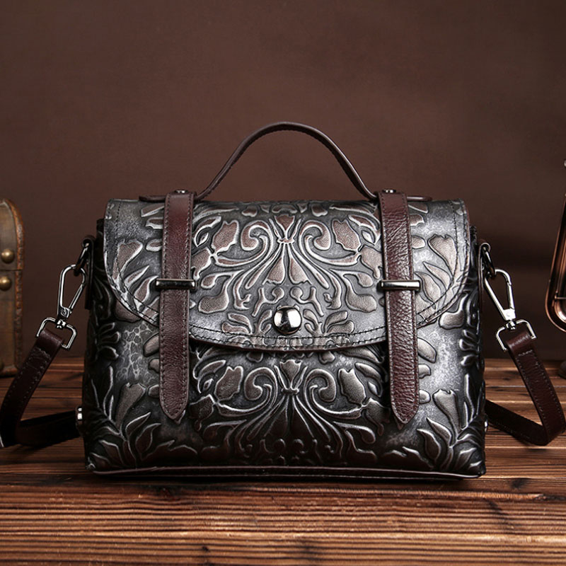 BULLCAPTAIN Vintage Women Genuine Embossed Leather Messenger Bags Ladies Famous Brand Cross Body Shoulder Casual Bag Handbags bullcaptain high quality genuine leather vintage women messenger shoulder bag ladies floral cross body bags brand mini tote