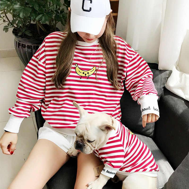 작은 개를위한 개 옷 프랑스 불독을위한 스트라이프 후드 치와와 옷 개 부모-자식 의상 애완 동물 바나나 운동복