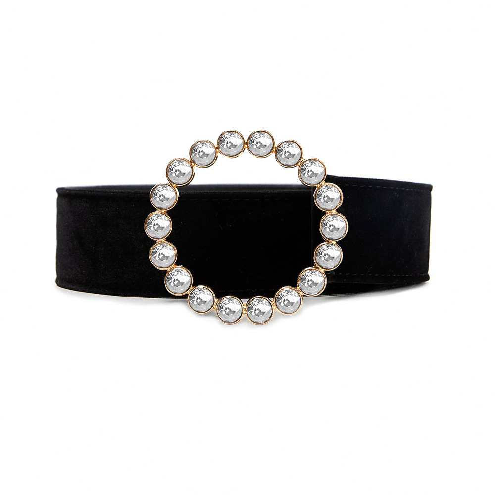 Women Pearls Beading O-Ring Buckle   Belts   Velvet Wide   Belt   for Womens Dress new Fashion Accessories black leather luxury brand