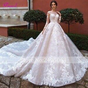 Image 3 - 新ファッションoネックビーズ長袖aラインのウェディングドレス2020アップリケ王室列車のレースの王女花嫁ドレスvestidoデnoiva