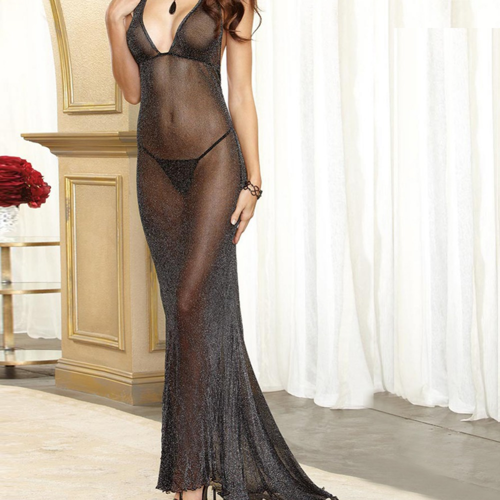 New arrival Sexy lingerie Women black flash mesh backless gauze transparent perspective dress long nightwear costumes