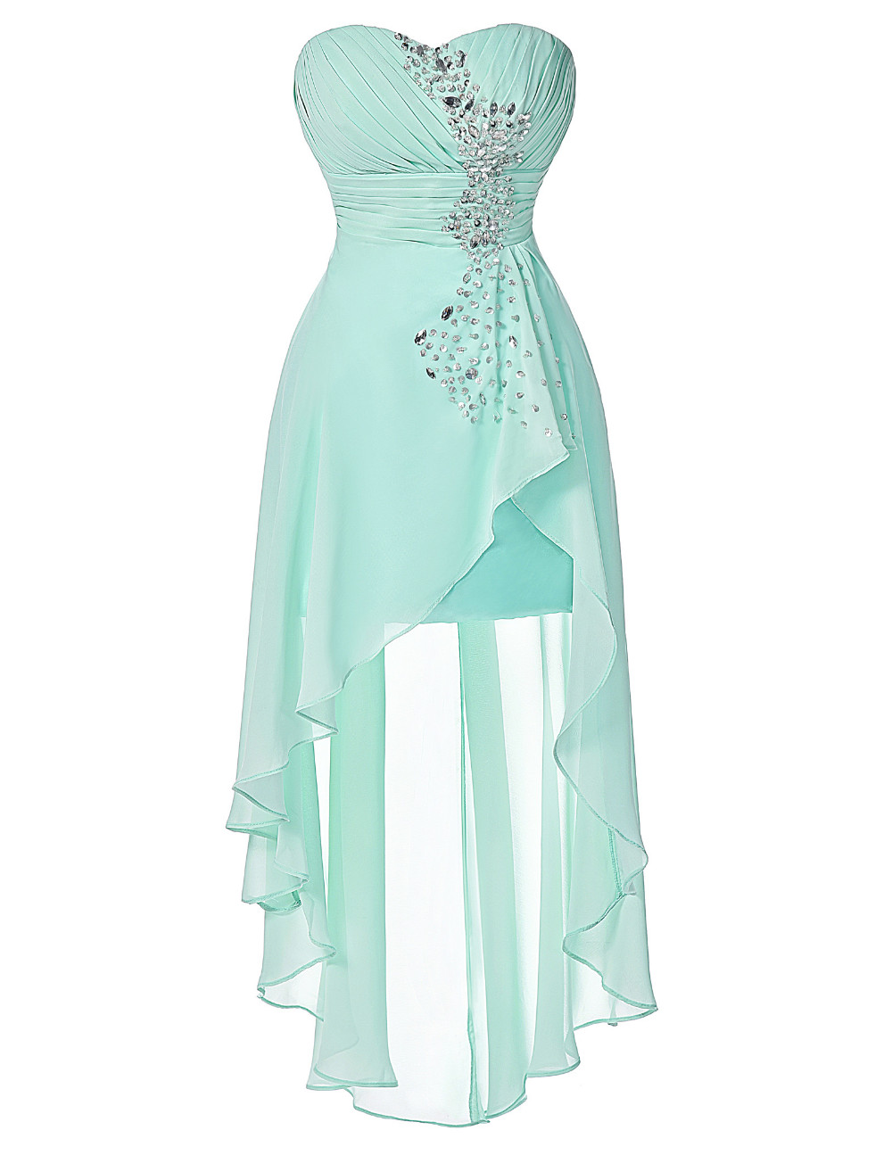 High Low Bridesmaid Dress 2017 Short Front Long Back Prom Gown Strapless Bead Sequin Pink Turquoise Bridesmaid Dress Grace Karin 15