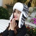 HT010 Clásico Bombardero Invierno Sombreros Mujeres Hombres Ear Flap Orejera Sombreros Copo de nieve de Punto Ski Trooper Sombreros Unisex Gruesa Sombreros Rusos