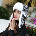 HT010 Classic Winter Bomber Hats Women Men Ear Flap Earflap Hats Snowflake Knitted Ski Trooper Hats Unisex Thick Russian Hats