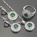 925 Sterling Silver Green Created Emerald White Topaz Jewelry Sets For Women Earrings/Pendant/Necklace/Rings Free Gift Box