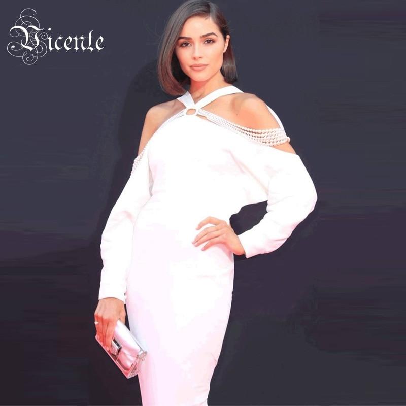 De Blanc Longues Midi Vicente Chaîne Chaude Chic Perle Robe L'épaule Outre Manches Célébrité Bandage Sexy Nouvelle Conception 2019 Partie gb6vf7IYym