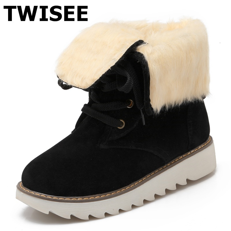 TWISEE Plush Faux Fur Suede Rubber Flat Slip On Winter Ankle Snow Boots Women's Fashion Platform Black Round Toe Shoes fashion women ankle boots suede tassels snow boots female warm plush bowtie fur rubber flat silp on platform black shoes casual