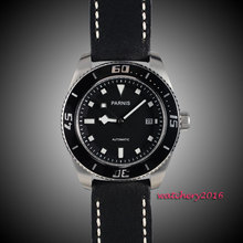 43mm Parnis black dial sapphire glass Stainless steel Case miyota Automatic mens Watch 10ATM black bezel