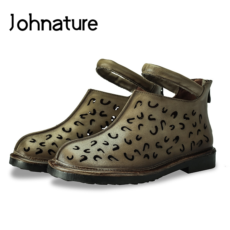 Johnature 2019 New Summer Genuine Leather Zipper Solid Casual Retro Cover Heel Hollow Comfortable Flat With Sandals Women Shoes-in Low Heels from Shoes    1