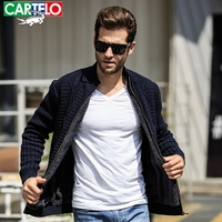 CARTELO 2017 Christmas Sweater Mens Zipper Solid Color Plus Thick Coat Sweat Men S Cardigan Male