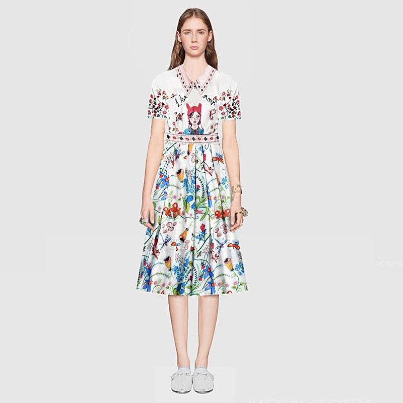 Milan Designer High Quality Spring Summer 2018 WomenS Party Fashion Boho Beach Girls Vintage Elegant Print Graffiti Dress