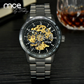 Vintage Black Men's Skeleton Wrist Watch Stainless steel Antique Steampunk Casual Automatic Skeleton Mechanical Male Watches