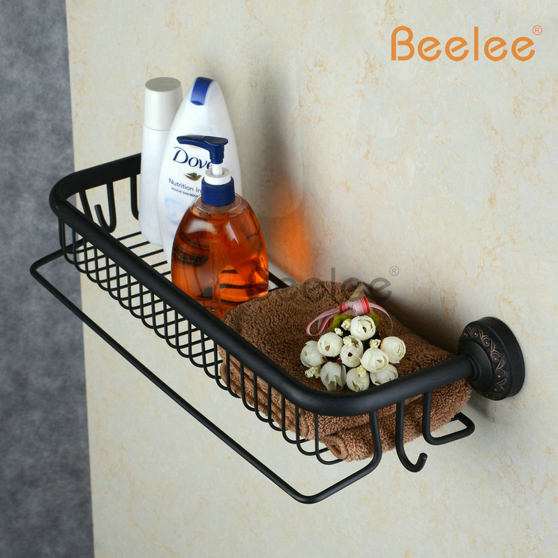Beelee BL6733B Oil Rubbed Bronze Storage Holder Wall Mount Bath Shelf With Towel Bar Dual Tiers Bathroom Accessories