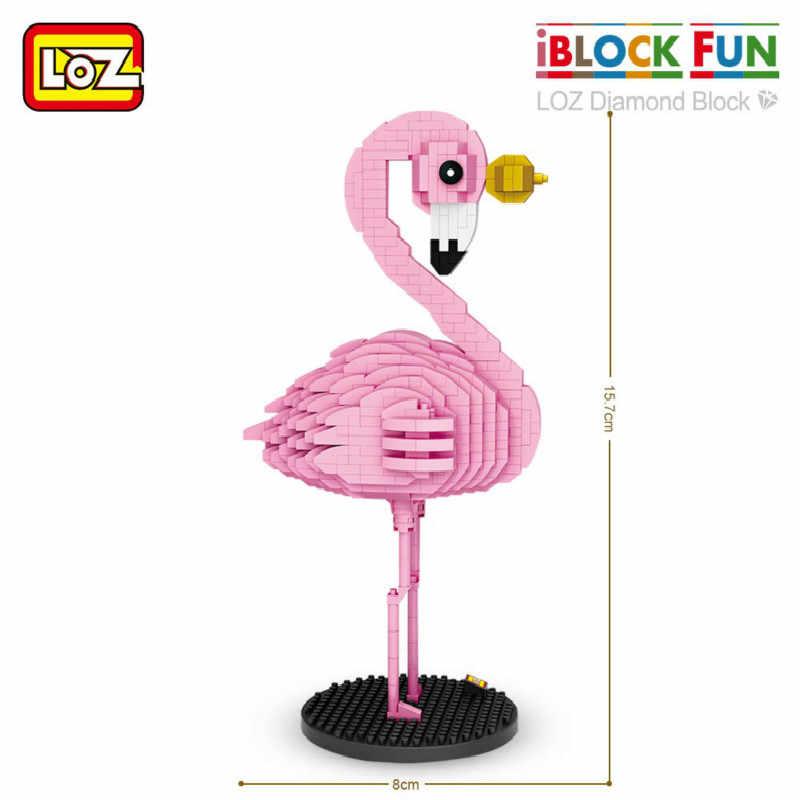LOZ Diamante Blocos Figura de Ação Brinquedo Flamingo Pássaro Cor de Rosa Colorido Dos Desenhos Animados Animais Educacionais Bricks DIY Presente Das Crianças Dos Miúdos 9205