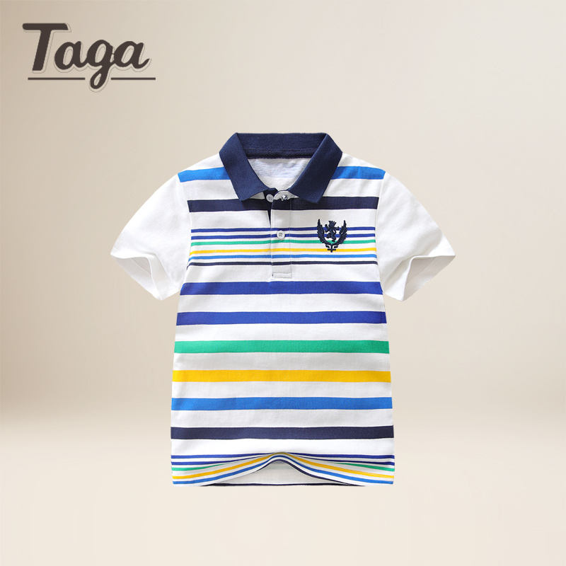 TAGA 2017 New Summer Strip Boys T-shirts Cotton Kids Tops Sports Tee Turn-down Collar Boys Polo Shirts 3-14Y Childrens Clothes