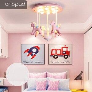 Image 2 - Artpad 素敵な王女樹脂ポニーピンクシーリングライト子供少女の子供ルーム天井ランプ装飾寝室幼稚園ねえや
