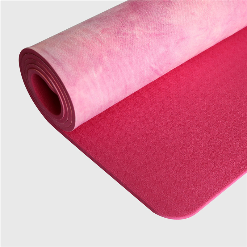 Hand-dyed Natural Suede TPE Yoga Mat Widened Anti-Slip Sweat Pilates Comfortable High Quality Fitness Pad 5