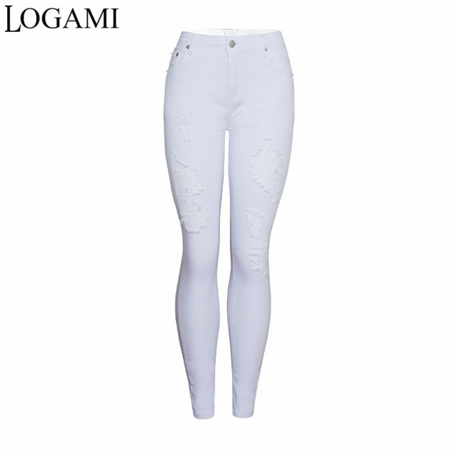 98c34633226b5 LOGAMI Skinny Jeans Woman High Waist Spring Summer Ripped Destroyed Jeans  Pants Woman Denim Pants White