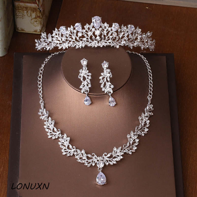 Necklace Earrings Zircon Tiara Crown Female-Accessories Gift Bride Birthday-Wedding Princess