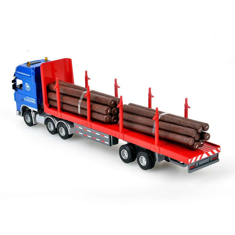 Alloy Diecast Log Transporter 1:50 10 Wheel Trailer Semi-Tractor Removeable Platform Truck Diecast Model Hobby Toy For Kids