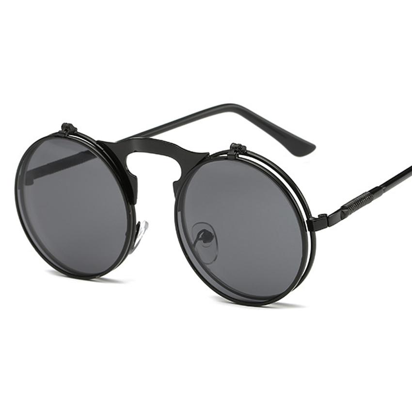 d00a2e28b Nova Moda Óculos De Sol Redondos Steampunk Marca Designer de Revestimento  do Espelho Do Vintage óculos de Sol Oculos Gafas de sol MA235
