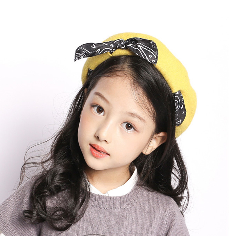 Cute Bow Berets Hat For Kids Winter Autumn Painter style Wool Vintage Solid Color Caps Girl Bonnet Warm Walking Cap