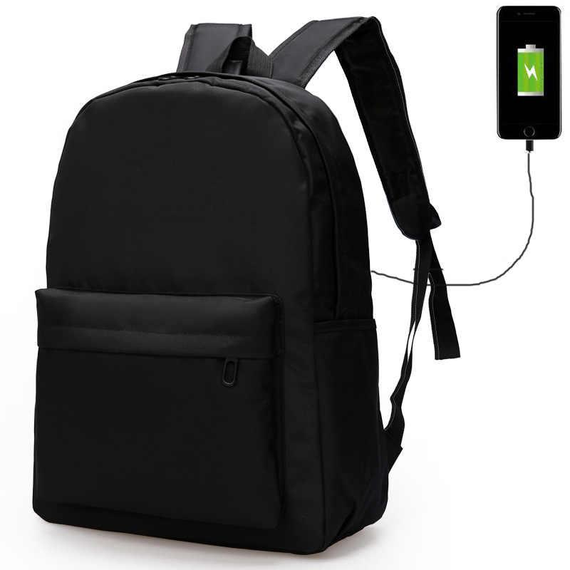 03d31b5a92 Minimalist USB Charging Black Backpack Canvas Men Backpacks School Bag For Teenage  Laptop Backpacks Casual Durable